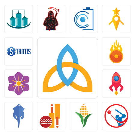 Set Of 13 simple editable icons such as holy trinity, batsman, corn stalk, cricket club, stingray, rocketship, saffron, o fire, stratis can be used for mobile, web UI