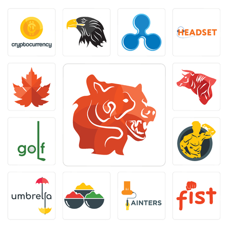 Set Of 13 simple editable icons such as bear head, fist, painters, spice, umbrella, muscle man, golf, bull, maple leaf can be used for mobile, web UI