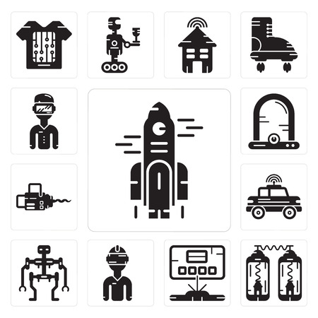 Set Of 13 simple editable icons such as Rocket, Teleportation, Hologram, Vr glasses, Robot, Car, Chainsaw, Egg incubator, Oculus rift can be used for mobile, web UI