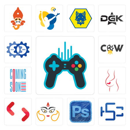 Set Of 13 simple editable icons such as free gaming, hsc, photoshop, durga, SH, gynaecologist, coming soon, cow, devops can be used for mobile, web UI Stock Vector - 102645186