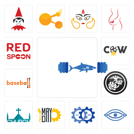 Set Of 13 simple editable icons such as gymshark, eye, devops, mayday, church, usmc, baseball, cow, spoon on its can be used for mobile, web UI Illustration
