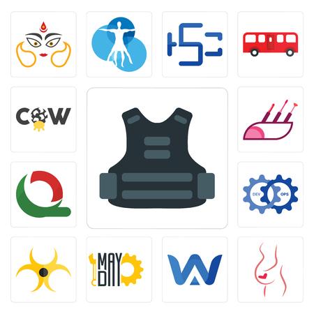 Set van 13 eenvoudige bewerkbare pictogrammen zoals kogelvrije vesten, gynaecoloog, a & w, mayday, biohazard, devops, quiznos, visagist, koe kan worden gebruikt voor mobiel, web-UI