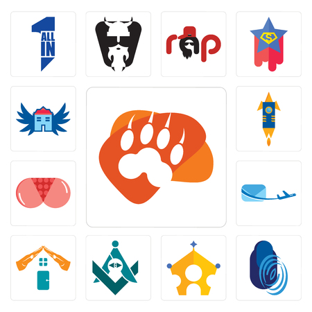 Set Of 13 simple editable icons such as lion paw, thumbprint, royal family, freemasons, realestate, air mail, ass, stellar, house with wings can be used for mobile, web UI