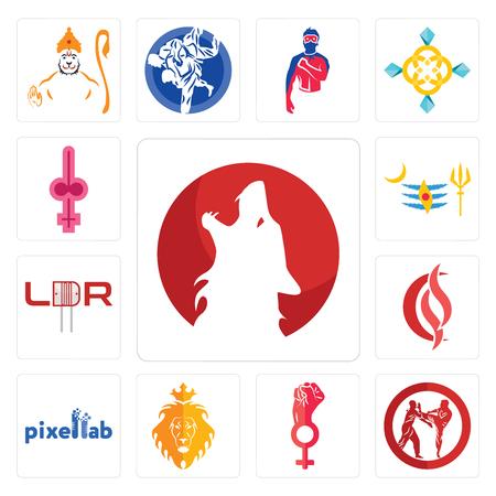 Conjunto de 13 iconos editables sencillos como kurt, krav maga, empoderamiento de la mujer, judá y el león, pixellab, scs, ldr, mahadev, shemale puede utilizarse para móviles, la interfaz de usuario web