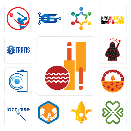 Set Of 13 simple editable icons such as cricket club, four  hearts, lis, arm wrestling, lacrosse, brick oven pizza, camera, grim reaper, stratis can be used for mobile, web UI Illustration