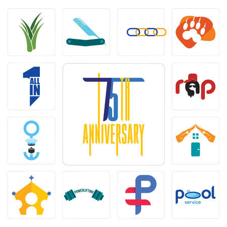 Set Of 13 simple editable icons such as 75th anniversary, pool service, ruble, powerlifting, royal family, realestate, seaman, rap, all in one can be used for mobile, web UI