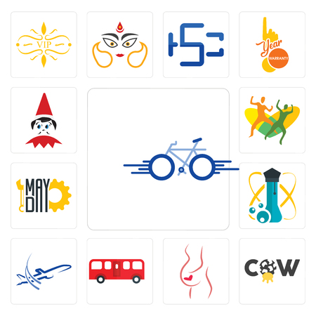 Set van 13 eenvoudige bewerkbare pictogrammen zoals fiets, koe, gynaecoloog, bus, dreamliner, wetenschap, mayday`` elf op de plank kan worden gebruikt voor mobiel, web UI