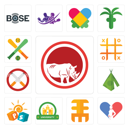 Set Of 13 simple editable icons such as save the rhino, gynecologist, eee, university, pre school, teepee, non smoking, tic tac toe, fantasy baseball can be used for mobile, web UI
