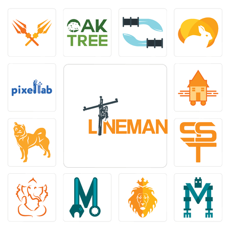 Set Of 13 simple editable icons such as lineman, mech, judah and the lion, photo mechanic, ganesh ji, sst, shiba inu, tiny house, pixellab can be used for mobile, web UI
