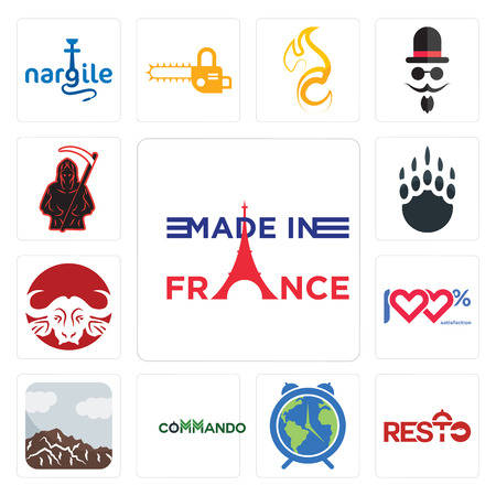 Set Of 13 simple editable icons such as made in france, resto, earth hour, commando, sierra, 100 satisfaction, buffalo brand, grizzly claw, grim reaper can be used for mobile, web UI Illustration
