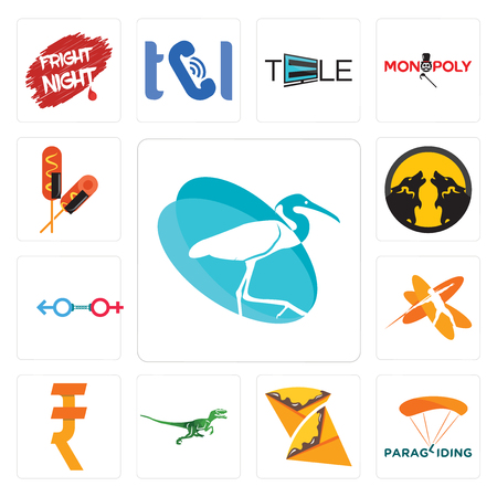 Set Of 13 simple editable icons such as egret, paragliding, crepe, velociraptor, rupee, javelin, sex store, pack wolf, corn dog can be used for mobile, web UI 矢量图像