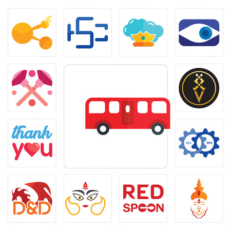 Set Of 13 simple editable icons such as bus, hanuman ji, spoon on its, durga, dungeons and dragons, devops, thank you, luxury, makeup can be used for mobile, web UI