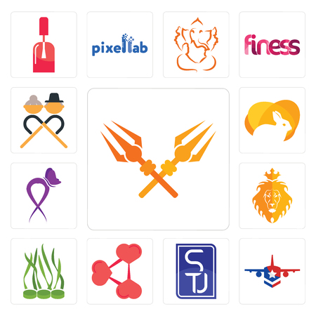 Set Of 13 simple editable icons such as trishul, honor flight, stu, share png, spirulina, judah and the lion, lupus, rabit, senior citizen can be used for mobile, web UI Illustration