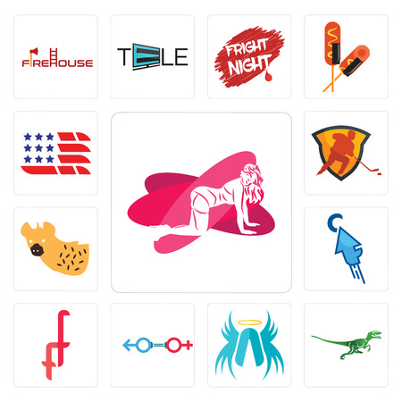 Set Of 13 simple editable icons such as pinup, velociraptor, archangel, sex store, double f, fastclick, hyena, power play hockey, american flag can be used for mobile, web UI
