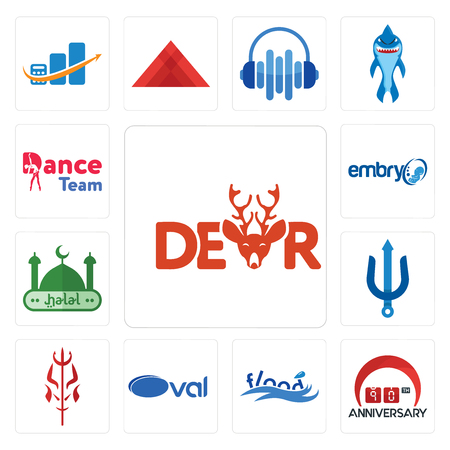Set Of 13 simple editable icons such as dear, 90th anniversary, flood, oval, satan, trident, halal, embryo, dance team can be used for mobile, web UI Vettoriali