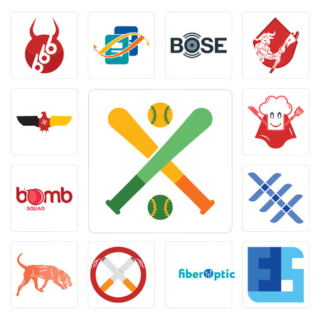 Set Of 13 simple editable icons such as fantasy baseball, ffs, fiber optic, non smoking, bloodhound, triple x, bomb squad, super chef, german eagle can be used for mobile, web UI Illustration