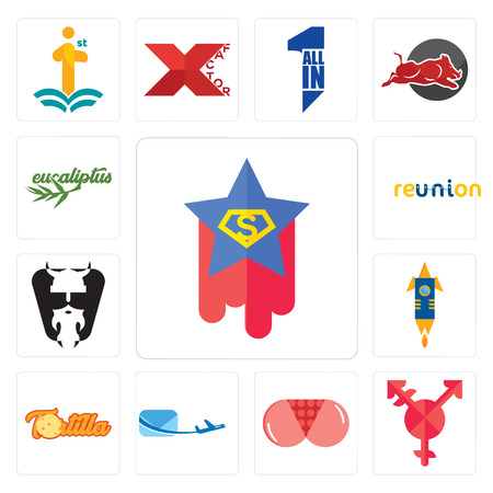 Set Of 13 simple editable icons such as superstar, transgender, ass, air mail, tortilla, stellar, vikings, reunion, eucalyptus can be used for mobile, web UI Фото со стока - 102464582