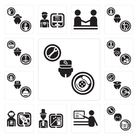 Set Of 13 simple editable icons such as Mechanic, Secretary, Teacher, Magician, Spaceman, Policeman, Concierge, Writer, Sailor can be used for mobile, web UI