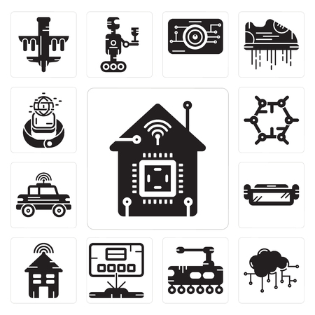 Set Of 13 simple editable icons such as Smart home, Cloud computing, Tank, Hologram, house, Ar glasses, Car, Graphene, Smartwatch can be used for mobile, web UI Ilustracja