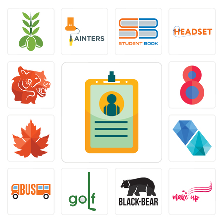 Set Of 13 simple editable icons such as id card, make up, black bear, golf, , diamond, maple leaf, number 8, bear head can be used for mobile, web UI Ilustração