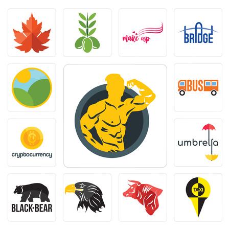 Set Of 13 simple editable icons such as muscle man, , bull, eagle head, black bear, umbrella, cryptocurrency, farm can be used for mobile, web UI Illustration