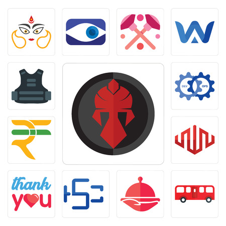 Set Of 13 simple editable icons such as spartan, bus, foodora, hsc, thank you, equinix, rupees, devops, body armor can be used for mobile, web UI