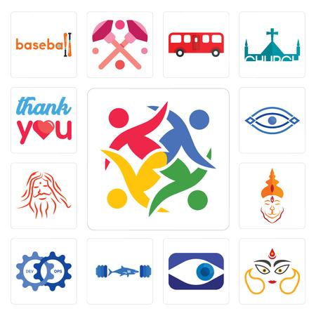 Set Of 13 simple editable icons such as unity, durga, neighborhood watch, gymshark, devops, hanuman ji, patanjali, eye, thank you can be used for mobile, web UI
