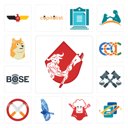 Set Of 13 simple editable icons such as minotaur, bookkeeping, super chef, bird, non smoking, judiciary, bose, eac, doge can be used for mobile, web UI Illustration