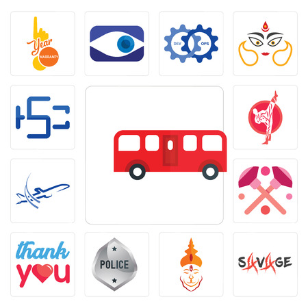 Set Of 13 simple editable icons such as bus, savage, hanuman ji, generic police, thank you, makeup, dreamliner, karate, hsc can be used for mobile, web UI
