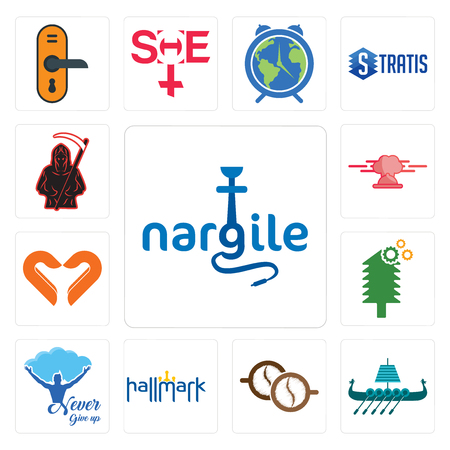 Set Of 13 simple editable icons such as nargile, viking ship, cofee, hallmark, never give up, tree service, handicraft company, catering, grim reaper can be used for mobile, web UI 矢量图像