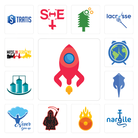 Set Of 13 simple editable icons such as rocketship, nargile, o fire, grim reaper, never give up, stingray, silo, earth hour, made in germany can be used for mobile, web UI Ilustração
