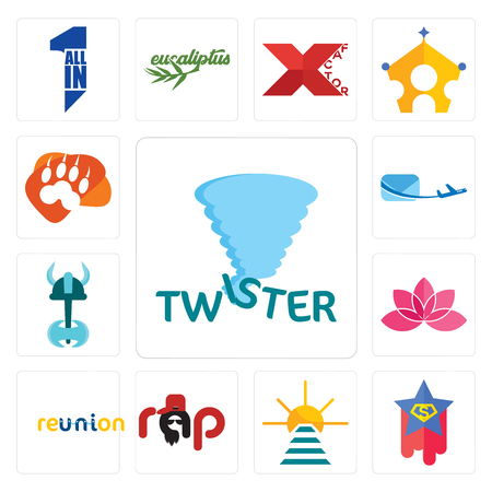 Set Of 13 simple editable icons such as twister, superstar, rise and shine, rap, reunion, lotos, viking, air mail, lion paw can be used for mobile, web UI