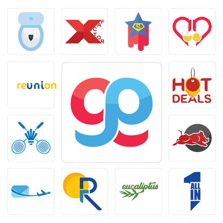 Set Of 13 simple editable icons such as gg, all in one, eucalyptus, pr, air mail, wild hog, badminton club, hot deals, reunion can be used for mobile, web UI