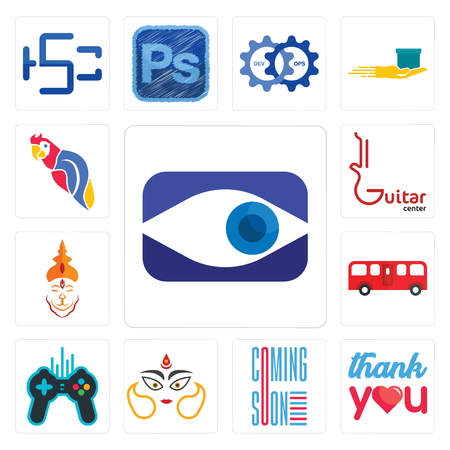 Set Of 13 simple editable icons such as neighborhood watch, thank you, coming soon, durga, free gaming, bus, hanuman ji, guitar center, parrot can be used for mobile, web UI Illustration