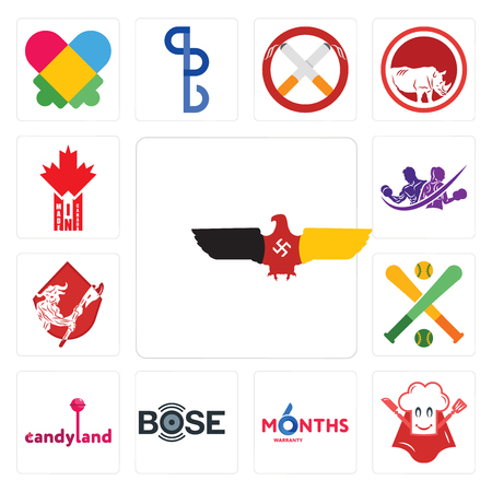 Set Of 13 simple editable icons such as german eagle, super chef, 6 months warranty, bose, candyland, fantasy baseball, minotaur, gym with purple, made in canada can be used for mobile, web UI