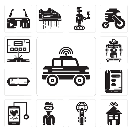 Set Of 13 simple editable icons such as Car, Smart house, Rocket, Oculus rift, Stethoscope, Display, Robot, Hologram can be used for mobile, web UI Illustration