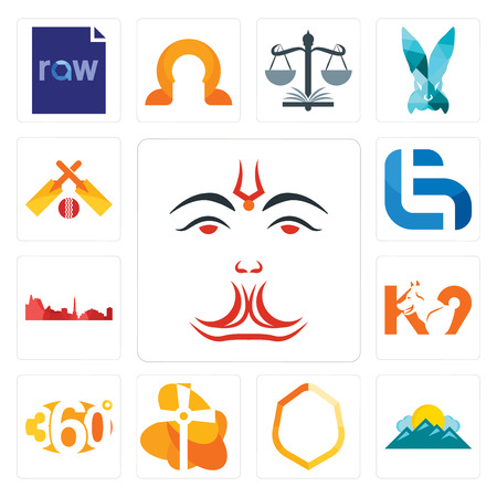 Set Of 13 simple editable icons such as anjaneya, mountain, crest, church, 360 degree, k9, leipzig hd, lg, cricket can be used for mobile, web UI