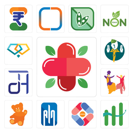 Set Of 13 simple editable icons such as farmacy, continuous improvement, pharma company, ain, , bhangra, dth, boy scout, jewlery can be used for mobile, web UI Stock Illustratie