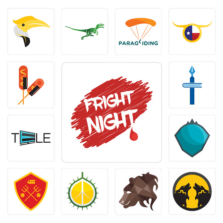 Set Of 13 simple editable icons such as fright night, pack wolf, bear profile, durian, man u, s.h.i.e.l.d., tele, christian school, corn dog can be used for mobile, web UI Stock Illustratie