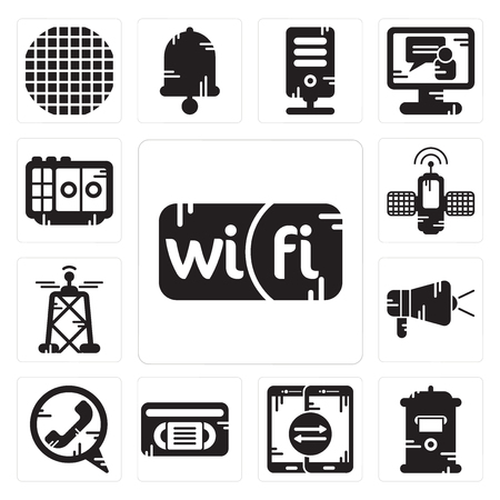 Set Of 13 simple editable icons such as Wifi, Mailbox, Smartphone, Vhs, Phone call, Protest, Antenna, Satellite, Voice recorder can be used for mobile, web UI