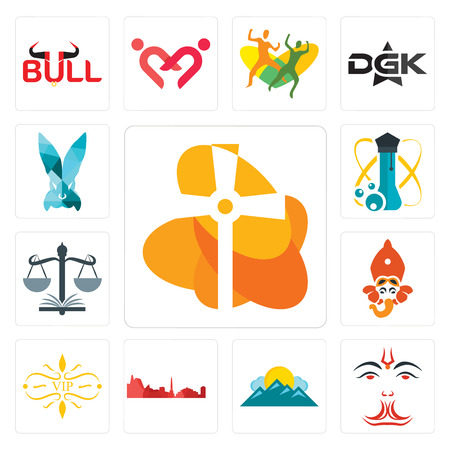Set Of 13 simple editable icons such as church, anjaneya, mountain, leipzig hd, vip, siddhivinayak, naacp, science, deceit can be used for mobile, web UI Ilustração