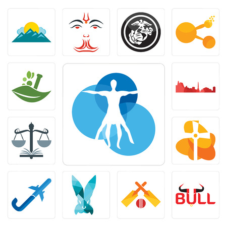 Set Of 13 simple editable icons such as vitruvian man, bull, cricket, deceit, pilot flying j, church, naacp, leipzig hd, ayurvedic can be used for mobile, web UI 向量圖像
