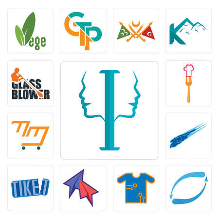 Set Of 13 simple editable icons such as psycology, retweet, teechip, telegram, tiket, peregrine falcon, mini mart, resturent, glass blower can be used for mobile, web UI Illustration