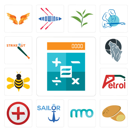Set Of 13 simple editable icons such as calculator, potato, 3 letter, sailor, image of  cross, petrol, honey bee, wolf, strike out can be used for mobile, web UI Vectores