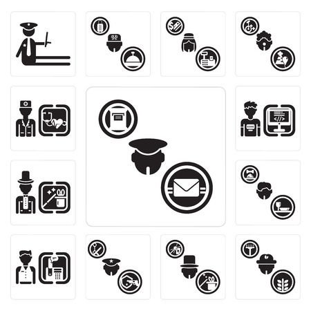 Set Of 13 simple editable icons such as Postman, Farmer, Magician, Policeman, Receptionist, Waiter, Programmer, Doctor can be used for mobile, web UI