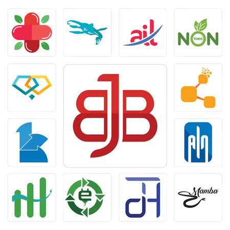 Set Of 13 simple editable icons such as bbj, black mamba, dth, e waste, continuous improvement, ain, 111, bitconnect, jewlery can be used for mobile, web UI Illustration