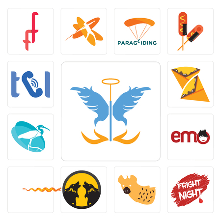 Set Of 13 simple editable icons such as guardian angel, fright night, hyena, pack wolf, rattlesnake, emo, egret, crepe, can be used for mobile, web UI