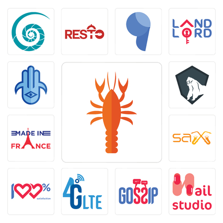 Set Of 13 simple editable icons such as crawfish, nail studio, gossip, 4g lte, 100 satisfaction, sax, made in france, king kong, hamsa can be used for mobile, web UI