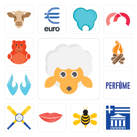 Set Of 13 simple editable icons such as, greek, honey bee, lip, baseball team, two hands, bonfire, cute bear can be used for mobile, web UI