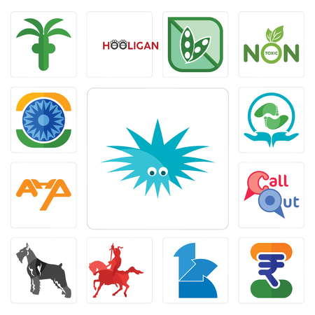 Set Of 13 simple editable icons such as urchin, indian rupee, 111, knight on horseback, schnauzer, callout, ahp, acupressure, ashok chakra can be used for mobile, web UI